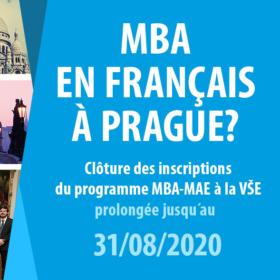 Uzávěrka přihlášek do 2. kola přijímacího řízení do programu MBA-MAE je stanovena na 31. 8. 2020