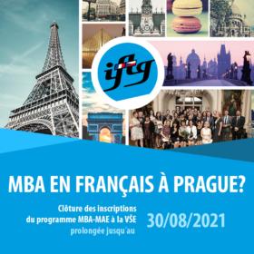 2. kolo přihlášek do programu MBA_Master Management et Administration des Entreprises, uzávěrka do 30. 8. 2021